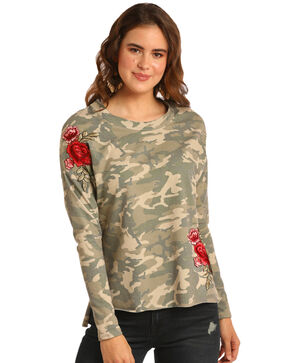 Rock & Roll Cowgirl Women's Camo & Floral Patch Top, Camouflage, hi-res