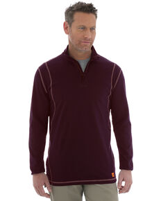 Wrangler 20X Men's Flame Resistant Quarter-Zip Long Sleeve Pullover, Burgundy, hi-res