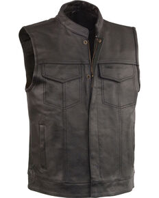 Milwaukee Leather Men's Black Open Neck Club Style Vest - Big 4X, Black, hi-res