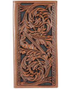 HOOey Men's Floral Tooled Rodeo Wallet, No Color, hi-res