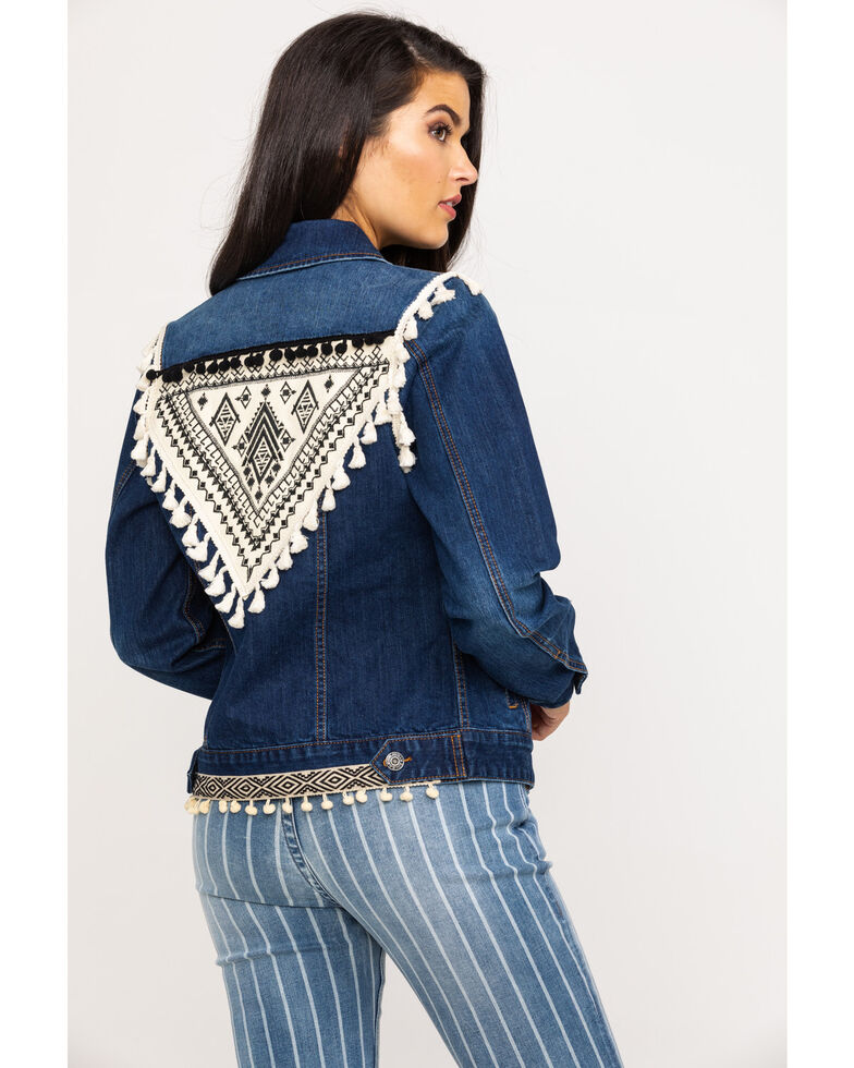 Rock & Roll Cowgirl Women's Aztec Embroidered Tassel Denim Jacket, Blue, hi-res