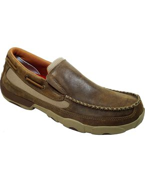 Twisted X Men's Driving Moc Slip-On Shoes, Brown, hi-res