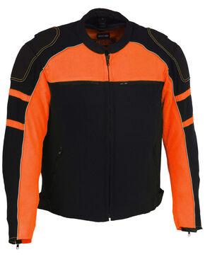 Milwaukee Leather Men's Mesh Racing Jacket with Removable Rain Jacket Liner - 5X, Black/orange, hi-res
