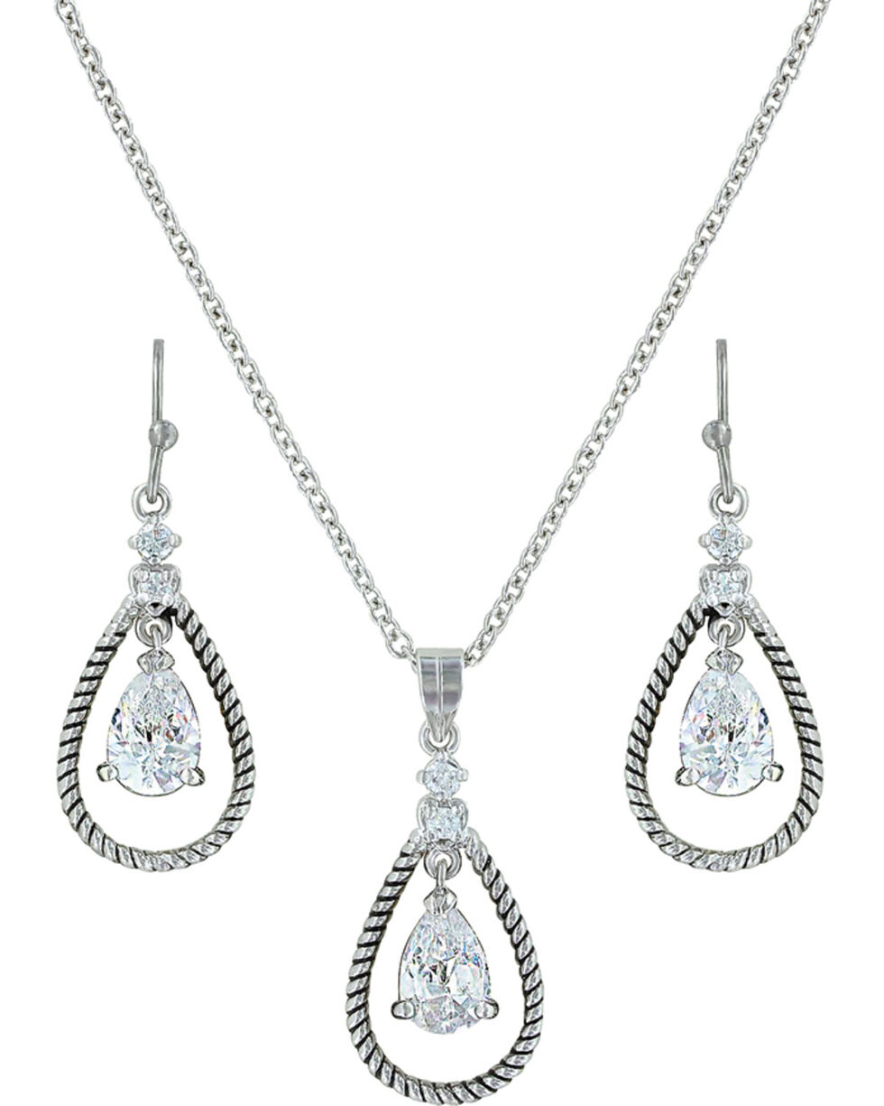 Montana Silversmiths Women's Crystal Twisted Rope Jewelry Set, Silver, hi-res