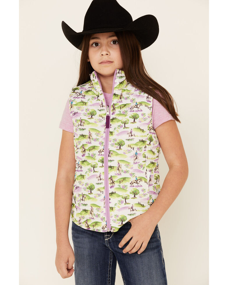Ariat Girls' Hunt Scene Printed Reversible Insulated Vest , Multi, hi-res