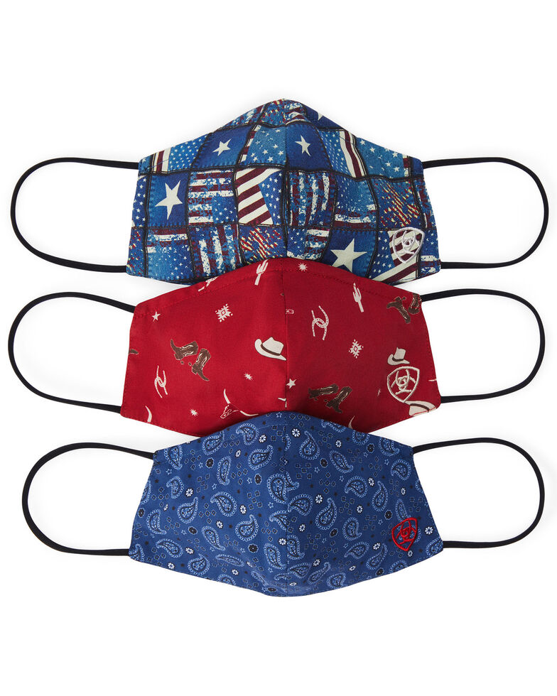 Ariat Women's Western Americana Fashion Facemasks, Red/white/blue, hi-res