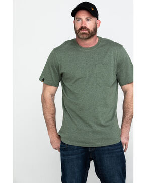 Hawx Men's Green Pocket Crew Short Sleeve Work T-Shirt , Heather Green, hi-res