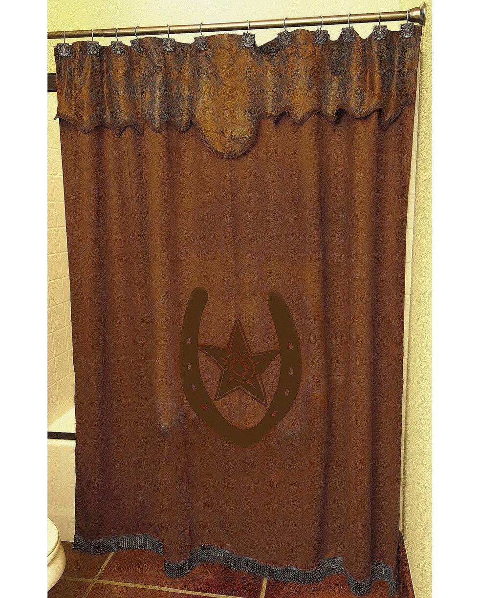 Star & Horseshoe Shower Curtain, Brown, hi-res