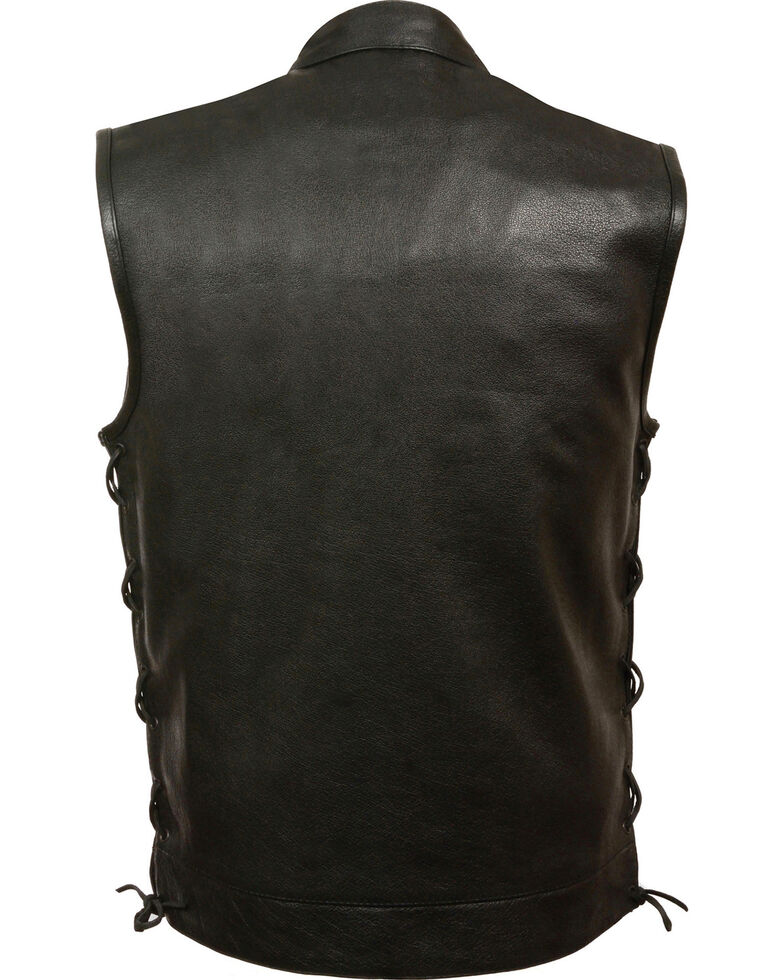 Milwaukee Leather Men's Side Lace Snap/Zip Front Club Style Vest - Big - 5X, Black, hi-res