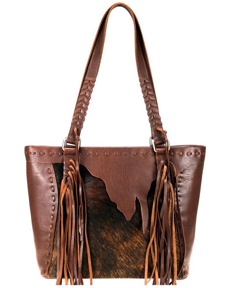 Montana West Women's Hair-On Tote Bag, Coffee, hi-res