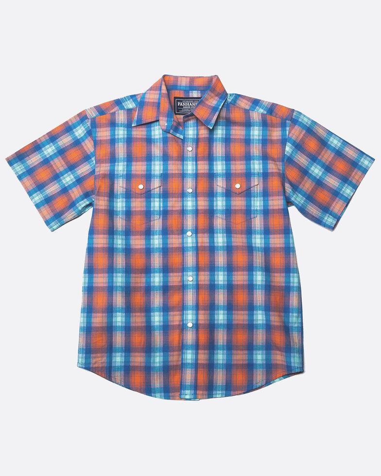 Panhandle Boys' Rough Stock Ludlow Vintage Plaid Short Sleeve Western Shirt , Coral, hi-res