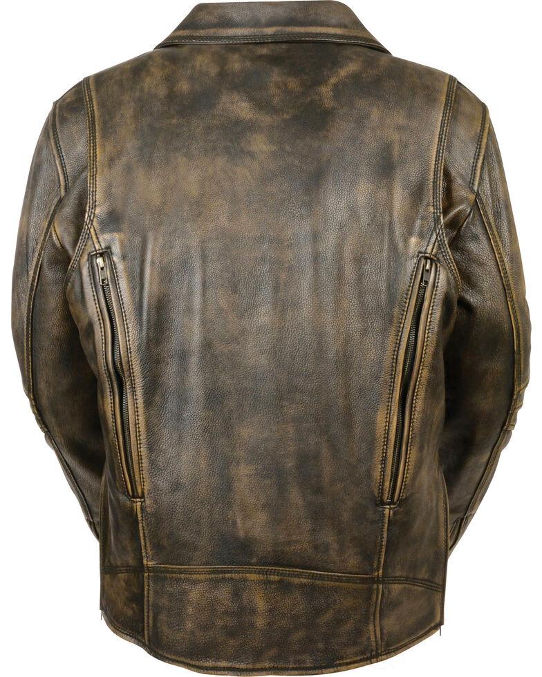 Milwaukee Leather Men's Triple Stitch Extra Long Biker Jacket , Black/tan, hi-res