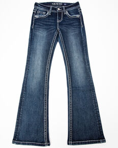 Grace in LA Girls' Winged Bootcut Jeans , Blue, hi-res
