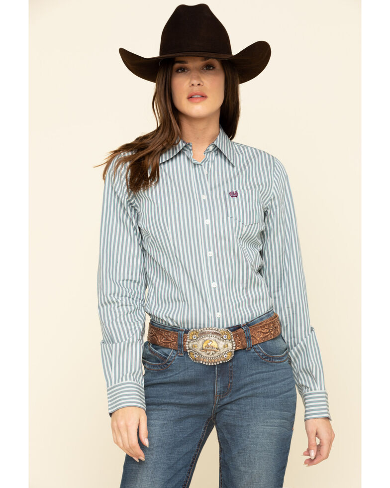 Cinch Women's Grey Stripe Button Long Sleeve Western Shirt , Grey, hi-res