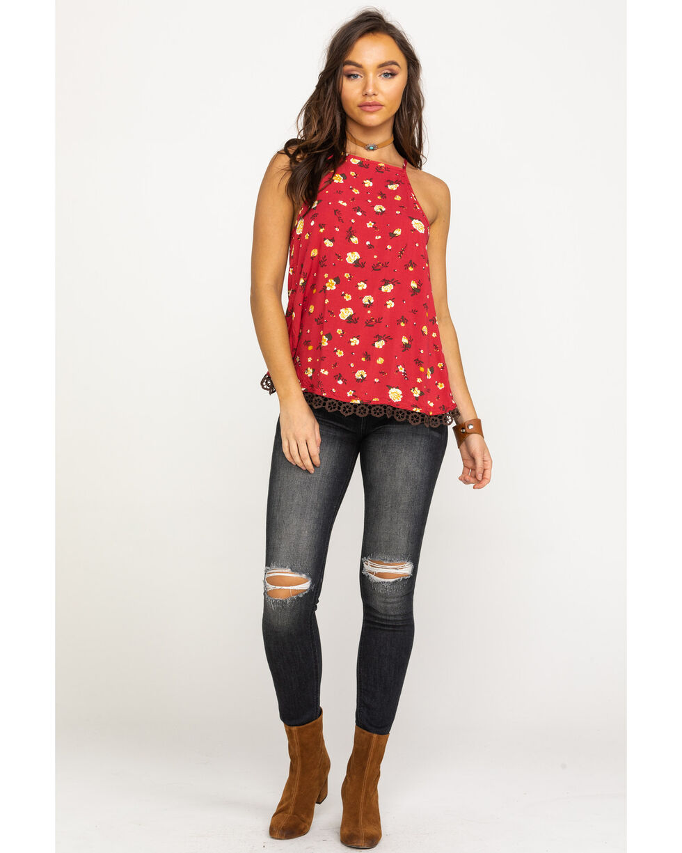Shyanne Women's Red Floral Ditsy Crochet Lace Top, Red, hi-res