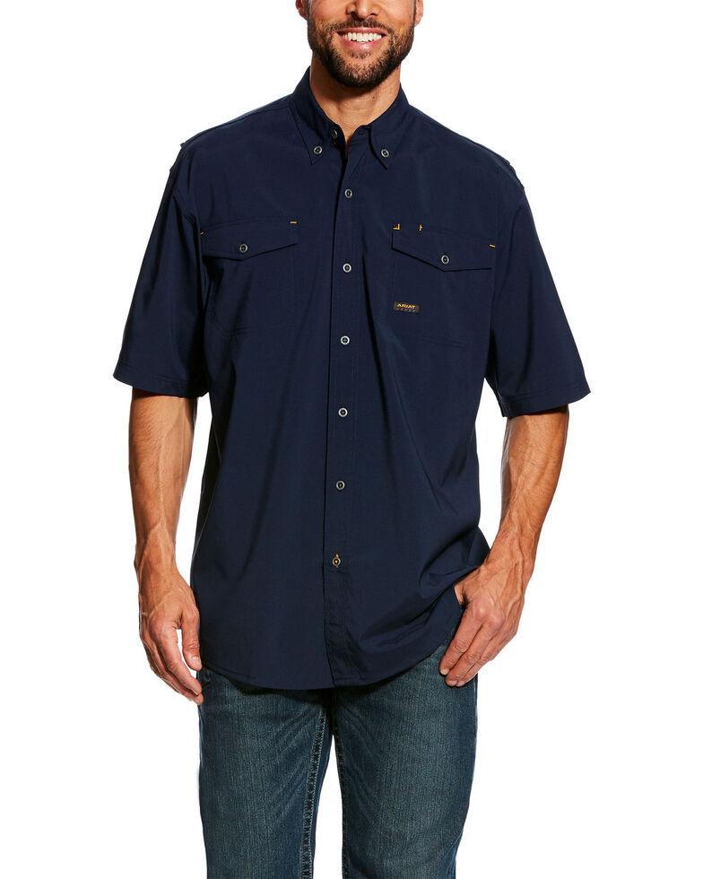 Ariat Men's Navy Rebar Made Tough Vent Short Sleeve Work Shirt , Navy, hi-res