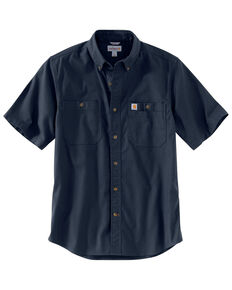 Carhartt Men's Navy Rugged Flex Rigby Short Sleeve Work Shirt - Tall , Navy, hi-res