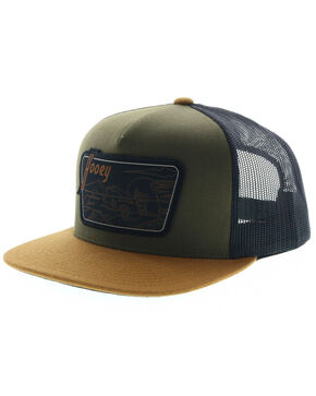 HOOey Men's Davis Mountains Patch Trucker Cap, Green, hi-res