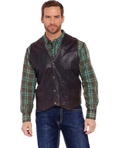 Cripple Creek Men's Antique Chocolate Leather Vest, Chocolate, hi-res