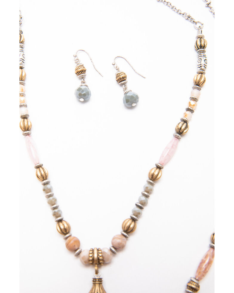 Shyanne Women's Moonlit Two Layered Beaded Necklace Tassel Jewelry Set , Silver, hi-res