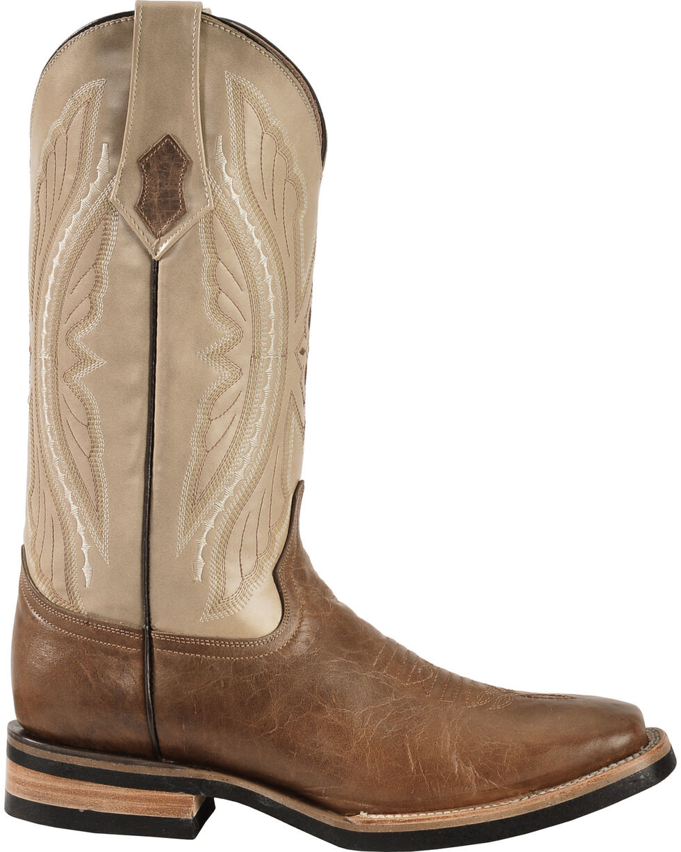 Ferrini Distressed Kangaroo Cowboy Boots - Wide Square Toe, Antique Saddle, hi-res