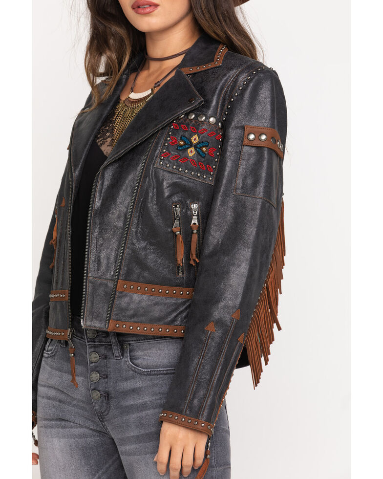 Double D Ranch Women's Black Buffalo Chase Jacket, Black, hi-res