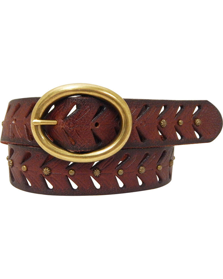 Cowgirls Rock Women's Brown Oval Bar Buckle Leather Belt, Brown, hi-res