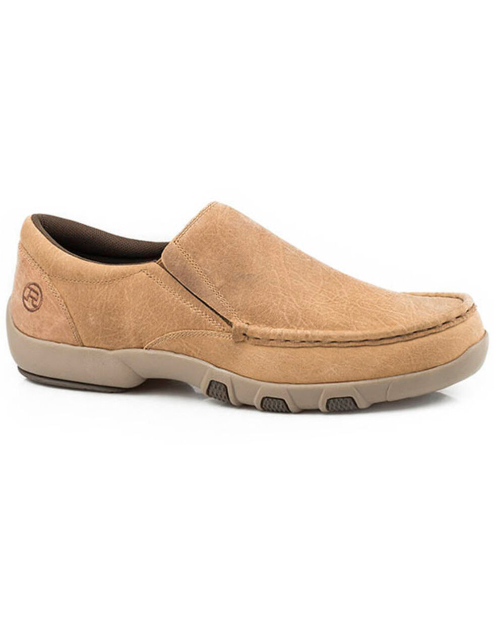 Roper Men's Johnnie Slip-On Shoes - Moc Toe, Tan, hi-res
