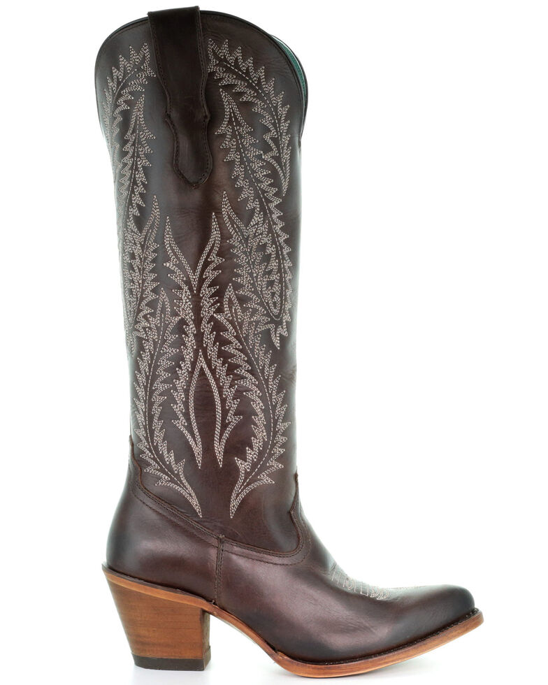 Corral Women's Brown Embroidered Tall Top Leather Western Boots - Snip Toe, Brown, hi-res