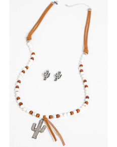 Shyanne Women's Wanderlust Can't Touch This Cactus Necklace Set, Silver, hi-res