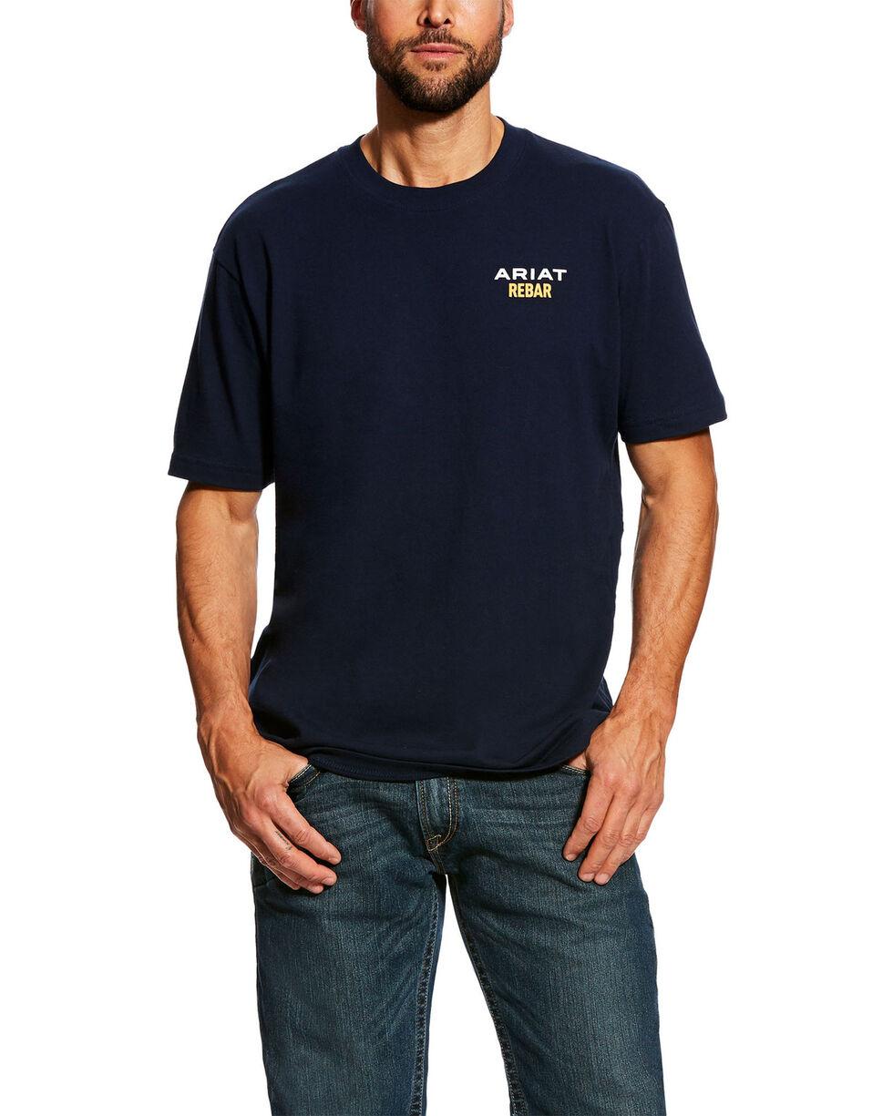 Ariat Men's Navy Rebar Cotton Strong Short Sleeve Logo Crew T-Shirt - Tall , Navy, hi-res