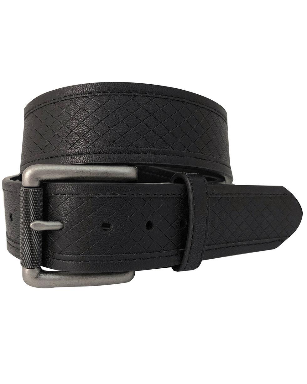 G-Bar-D Men's Black Diamond Embossed Leather Belt , Black, hi-res