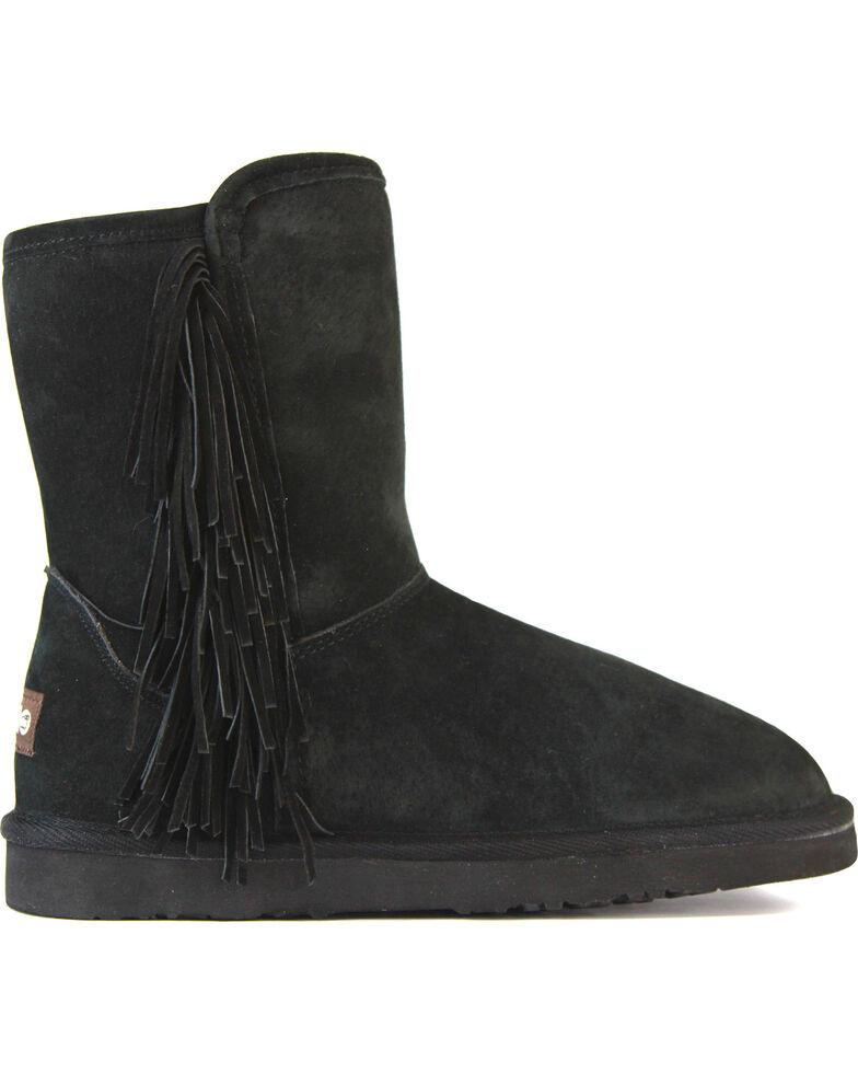 Lamo Women's Sellas Short Fringe Winter Boots - Round Toe, Black, hi-res