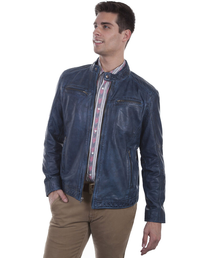 Scully Men's Denim Leather Jacket, Indigo, hi-res
