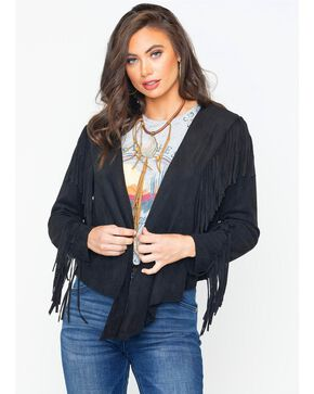 Vocal Women's Faux Suede Fringe Jacket , Black, hi-res