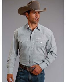 Stetson Men's Circle Printed Long Sleeve Shirt, Blue, hi-res
