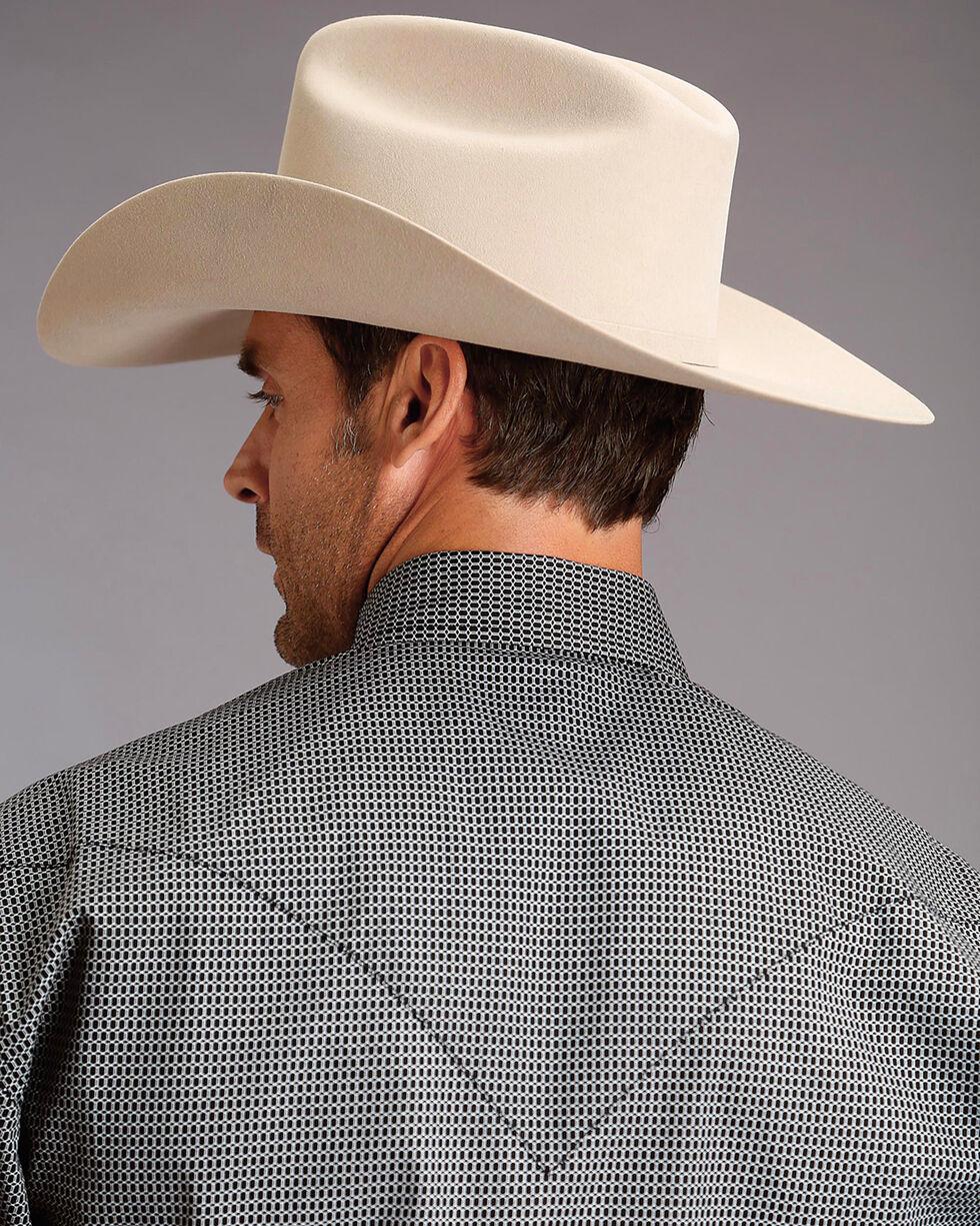 Stetson Men's Black Honeycomb Geo Print Western Shirt , Black, hi-res