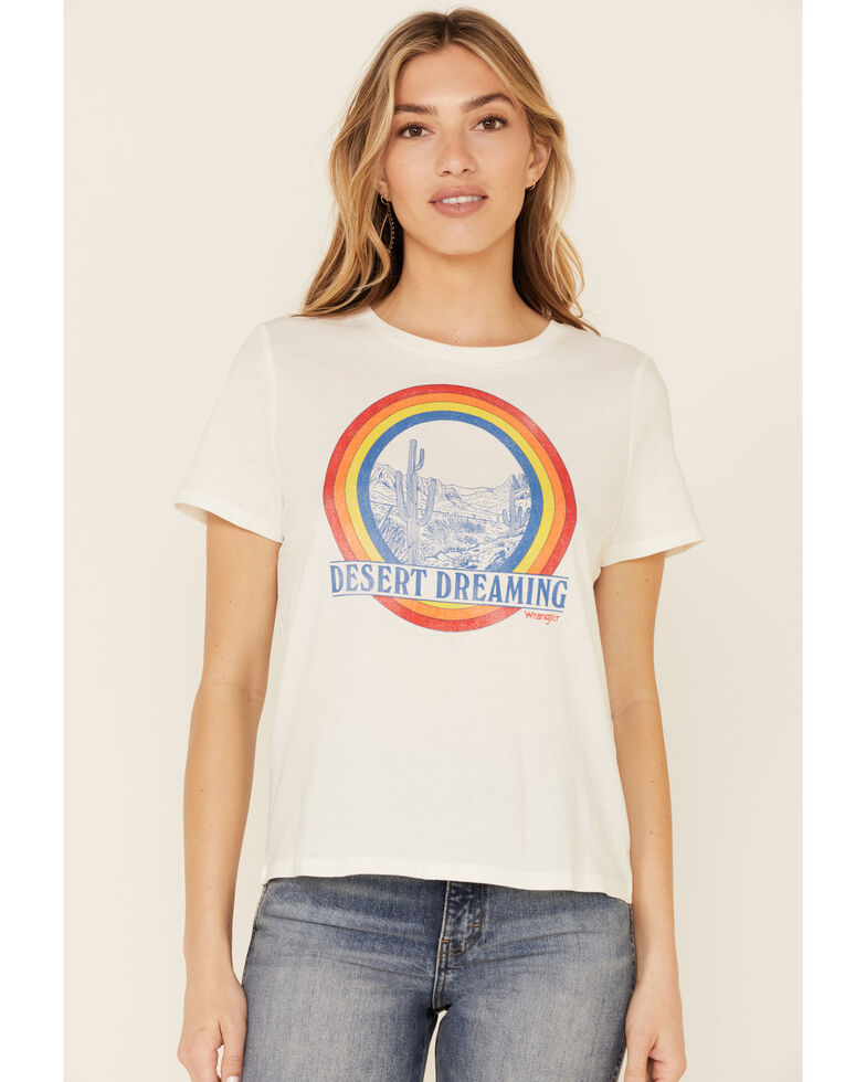 Wrangler Modern Women's Desert Dreaming Rainbow Graphic Short Sleeve Tee , White, hi-res