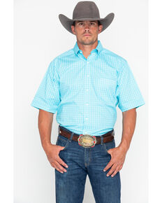 Tuf Cooper Men's Competition Stretch Short Sleeve Shirt, Light Blue, hi-res