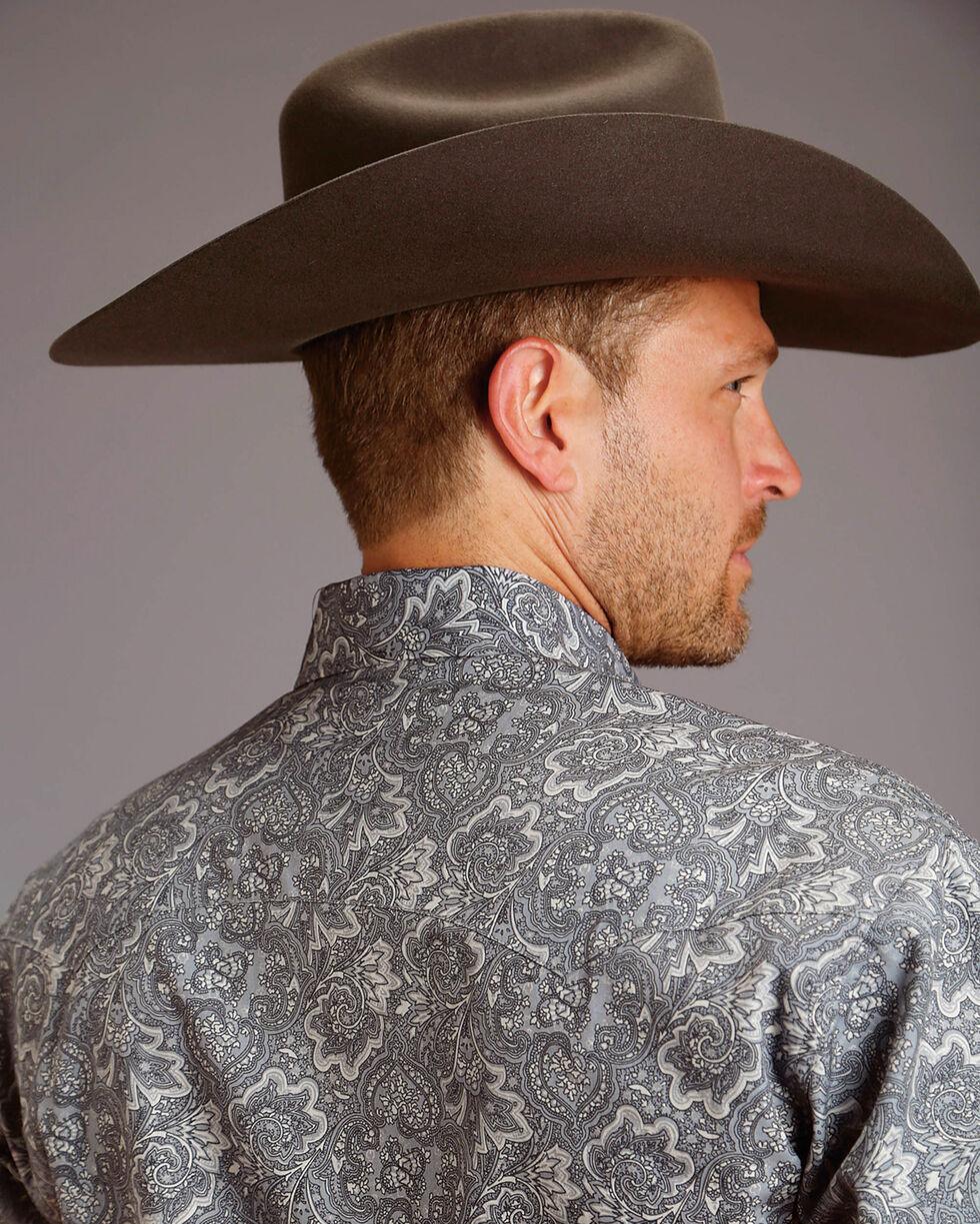 Stetson Men's Gray Marble Paisley Print Western Shirt , Grey, hi-res