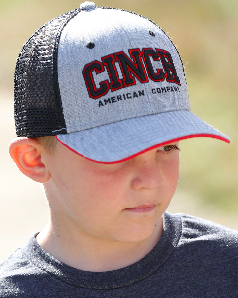 Cinch Boys' Mesh Back Embroidered Trucker Cap, Heather Grey, hi-res