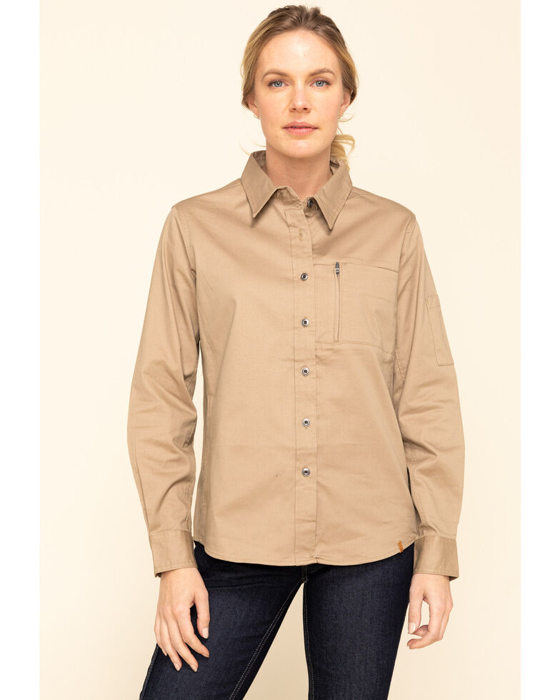 Wrangler Riggs Women's Taupe Long Sleeve Work Shirt, Taupe, hi-res