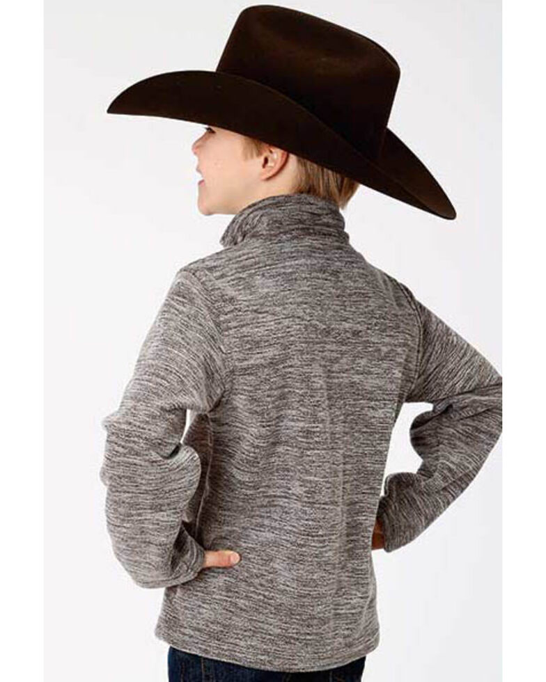 Roper Boys' Grey Bonded Fleece Lightweight Pullover Jacket , Black, hi-res