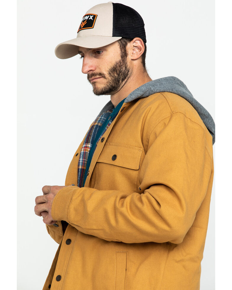 Hawx® Men's Khaki Flannel Lined Hooded Canvas Shirt Work Jacket , Brown, hi-res