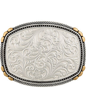 Montana Silversmiths Two-Tone Pinpoints & Twisted Rope Trim Buckle, Silver, hi-res