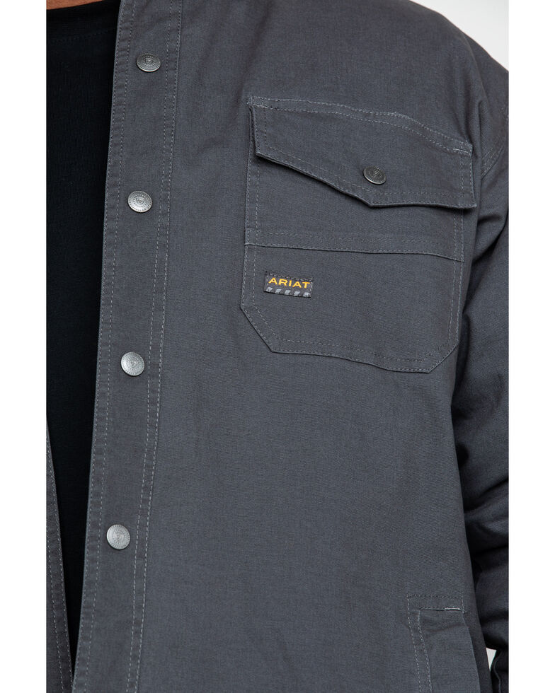 Ariat Men's Rebar Foundry Insulated Hooded Work Shirt Jacket , Grey, hi-res