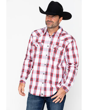 Cody James Men's Brooks Plaid Long Sleeve Western Shirt , White, hi-res
