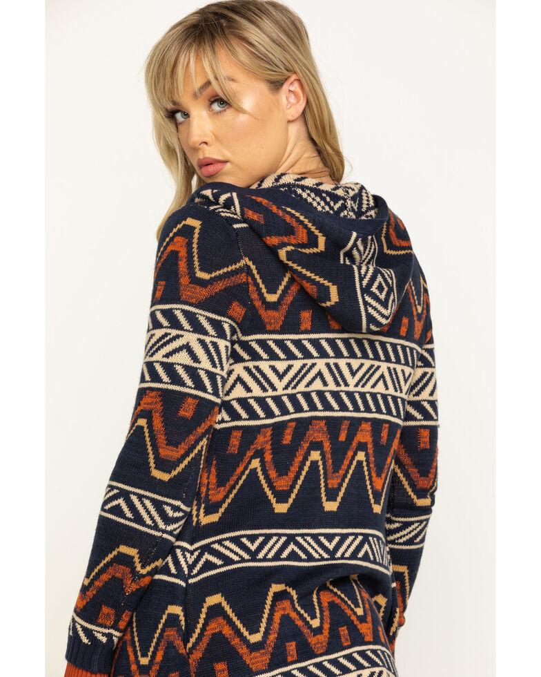 Shyanne Women's Rust Hooded Aztec Sweater Cardigan, Rust Copper, hi-res