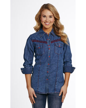 Cowgirl Up Women's Denim Vintage Wash Woven Shirt , Indigo, hi-res