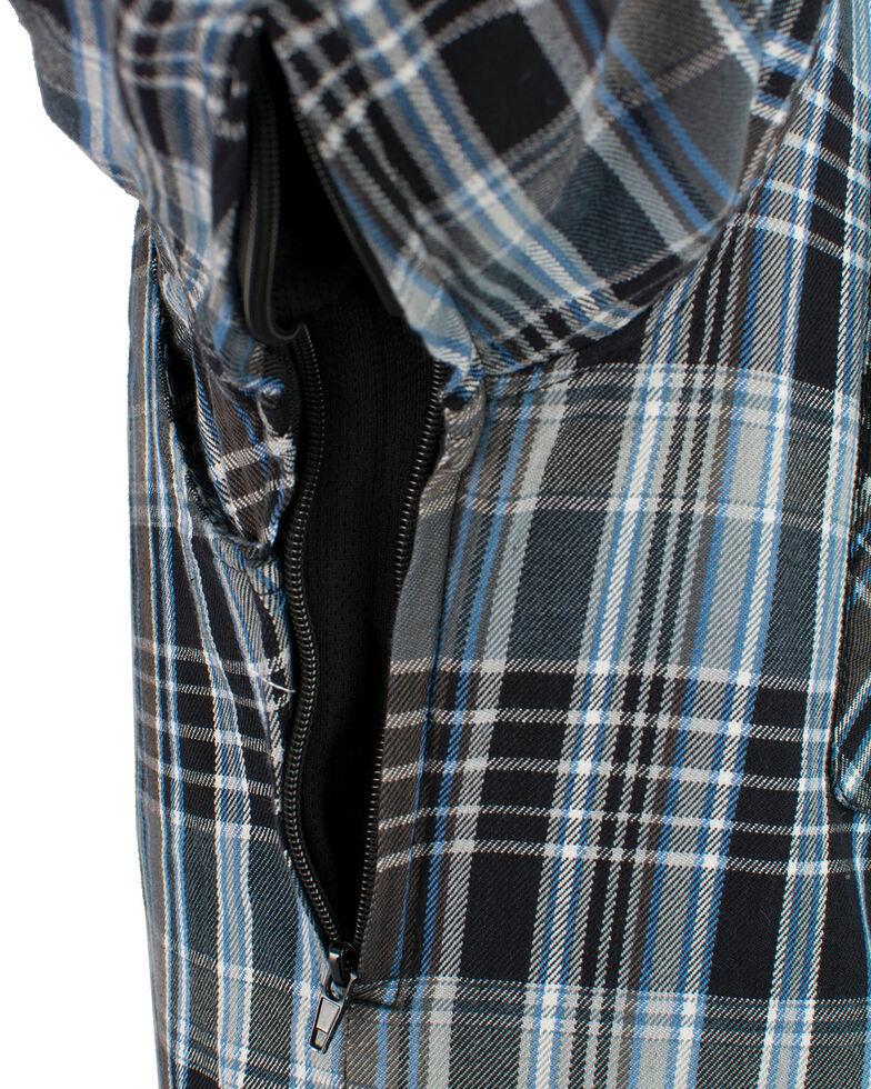 Milwaukee Performance Men's Black/White/Blue Aramid Flannel Biker Jacket, Black/blue, hi-res